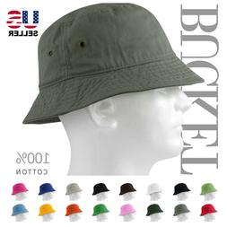 MEN 100% COTTON FISHING BUCKET HAT CAP SUN BOONIE SUMMER BRI
