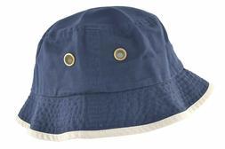 Newhattan Men's 100% Cotton Bucket Hat Navy Blue Putty #1519