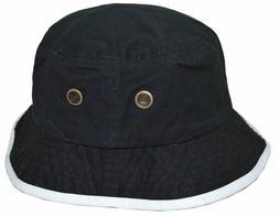 Newhattan Men's 100% Cotton Bucket Hat Black White