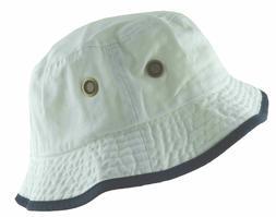 Newhattan Men's 100% Cotton Bucket Hat White Navy Blue #1519