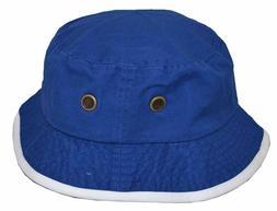 Newhattan Men's 100% Cotton Bucket Hat Royal Blue White
