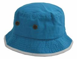 Newhattan Men's 100% Cotton Bucket Hat Turquoise Blue White
