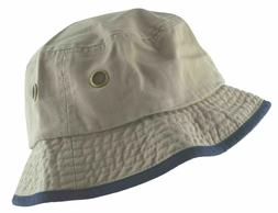 Newhattan Men's 100% Cotton Bucket Hat Khaki/Navy Blue #1519