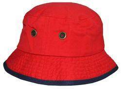 Newhattan Men's 100% Cotton Bucket Hat Red Navy Blue