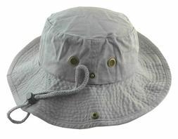 Newhattan Men's Cotton Safari Bucket Fisherman Hat with Stri