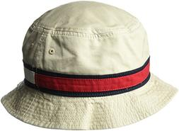 Tommy Hilfiger Men's Dad Hat Flag Bucket Cap, Stone, Small-M