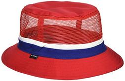 Brixton Men's Hardy Short Brim Mesh Bucket Hat, red/Navy, M