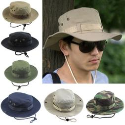 Mens Wide Brim Bucket Hats Hunting Boonie Cap Camo Military