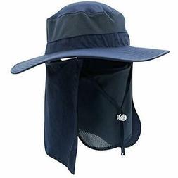 Home Prefer Men's Sun Hat Mesh Bucket Detachable Neck Face F