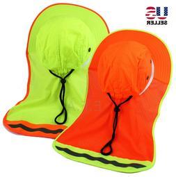 Men Safety Reflective Waterproof Mesh Neck Flap Boonie Hat B