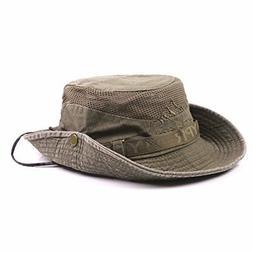 King Star Men Summer Cotton Cowboy Sun Hat Wide Brim Bucket