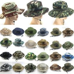 Mens Tactical Boonie Hat Military Camo Bucket Wide Brim Sun