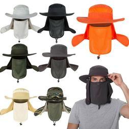 Men Unisex Bucket Hat Neck Flap Face Mask Anti Sun Wide Brim