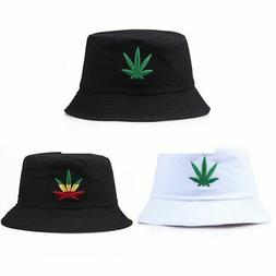 Men Women Maple Leaf Bucket Hat Hip Hop Fisherman Panama Hat