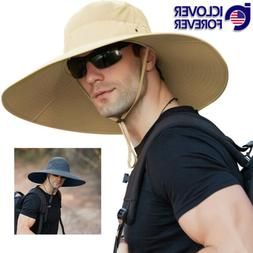 Men Women Wide Brim Bucket Hat Outdoor Anti-UV Sun Hat Fishi
