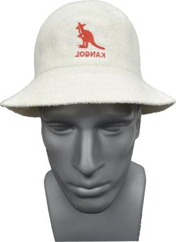 Mens KANGOL 100% Authentic White Big Logo Bucket Hat K3407