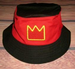MENS AKADEMIKS BLACK RED BUCKET HAT SIZE S/M