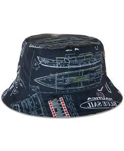 Nautica Mens Blue Sail Reversible Logo Graphic Bucket Hat Bl