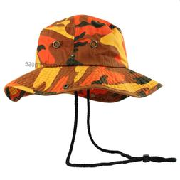 Mens Boonie Bucket Wide Brim Hat Savage Orange Camo Cotton S