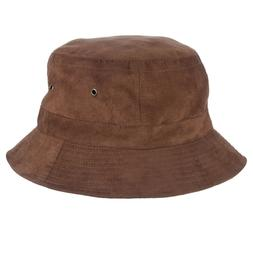 Mens Dorfman Pacific Brown Faux Suede Bucket Hat Size Large