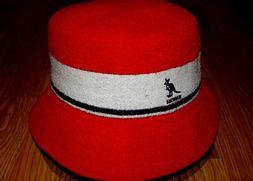 Mens Classic Kangol Bermuda Stripe Bucket Hat Color Scarlet