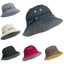Mens Short Brim Cotton Boonie Bucket Hat Outdoor Summer Spri