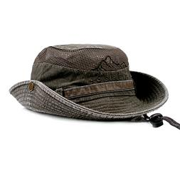 KeepSa Mens Summer Cotton Embroidery Visor Bucket Hats Fishe