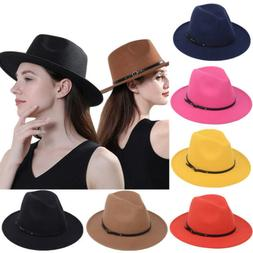 Mens Women's Fedora Hat Wide Brim Panama Hats Bucket Dress T