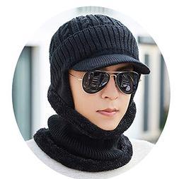 Mens Wool Velvet Knitted Hat Scarf Winter Thick Vintage Vogu