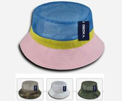 mesh bucket hat open mesh top pink