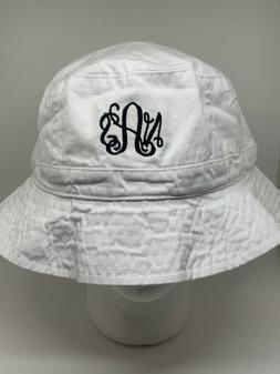 Monogrammed bucket hat   custom text   personalized hat   Su