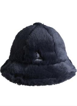 Kangol Navy Fluffy Faux Fur Casual Bucket Hat NWT M