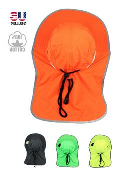 Neck Flap Boonie Safety Reflective Bucket Hat Cap UV Protect