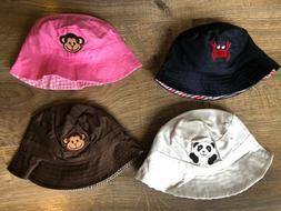 NEW Baby Beach Bucket Sun Hat Pink Brown White Navy Monkey C