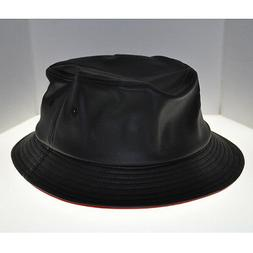 BLVCK LABEL BLACK LEATHER BUCKET STYLE HAT RED INNER LINING
