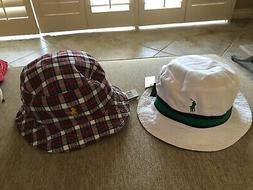 NEW RALPH LAUREN BUCKET/GOLF/RAIN HAT COTTON WHITE/PLAID REV