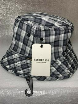 New Ben Sherman Men's Bucket Hat BS4203 Black Gray White Pla