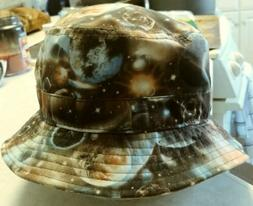 New Mens Brown/Multi-Color 'E-Flag' Cosmic Bucket Hat O/S