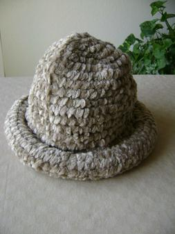 NEW WOMEN'S BUCKET CLOCHE HAT CHENILLE CAMEL TAN ROLL BRIM O