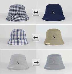 NWT NAUTICA MEN & WOMEN LOGO BUCKET HAT CAP REVERSIBLE 100%C