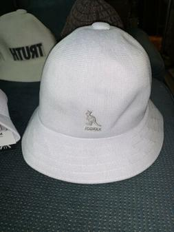 NWT Men's Kangol TROPIC Casual Bucket Hat White Silver Log
