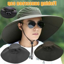 Outdoor Wide Brim Bucket Hat Hunting Fishing Camping Sun Hat