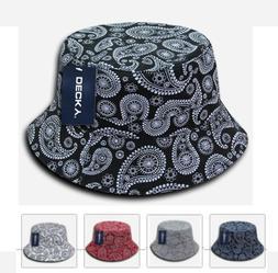 Decky Paisley Bucket Hat - Bandana Bucket Cap- Navy, Red, Wh