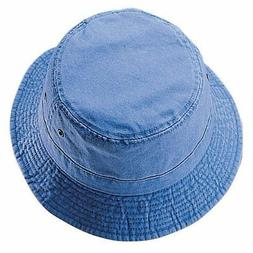 Pigment Dyed Twill Washed Bucket Cap Kid Youth Hat-blue-54cm