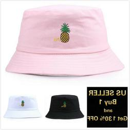 Pineapple Bucket Hat Cap Cotton Fishing Boonie Brim visor Su