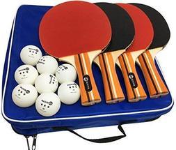 Pro Ping Pong Paddle Set Table Tennis Rackets Balls Game Spo