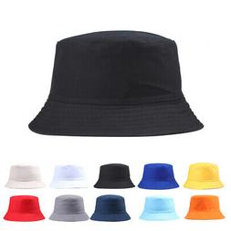 Bucket Hat Hunting Fishing Solid Color Cap Women Men Summer