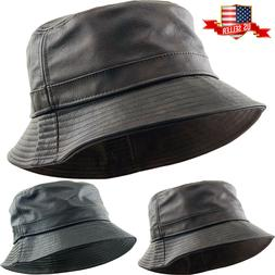 PU Leather Faux Black Bucket Hat NEW