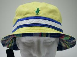 Polo Ralph Lauren Reversible Men's Bucket Hat Cap Yellow Siz