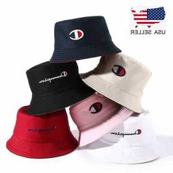 Reversible Men Women Champion Letters Embroider Bucket Hat S